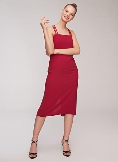 People By Fabrika İp Askılı Midi Elbise Kırmızı
